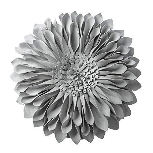 JWH 3D Sunflower Accent Pillow Hand Craft Round Cushion Decorative Pillowcase with Pillow Insert Home Sofa Bed Living Room Decor Gift 14 Inch / 35 cm Solid Suede Light ()