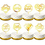 Zhanmai 8 Pieces Happy Birthday Cake Topper Acrylic Cupcake Topper Cake Supplies Decorations for Various Cake Decorations, Gold