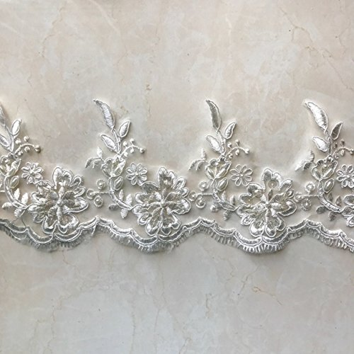 Trim Sequin Scallop (Bridal Lace Trim on Organza, Pearls and Clear Sequins, for Veil, Wedding Dresses, Garments, Ivory, 4