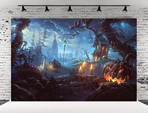 Kate 7x5ft Halloween Photography Backdrops Castle Pumpkin Bats Ghost Dark Cloud Lightning Photo Booth Prop Background for Party(with -