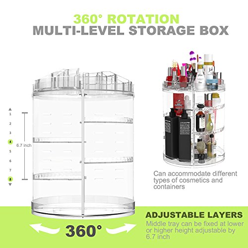 -[ Rotating Makeup and Jewelry Organizer Holder, 360-Degree Adjustable Multifunctional Cosmetics St