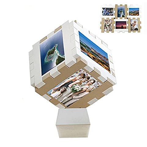 4x6 Picture Frame Collage - DesignSter 6Pcs / 1Set Separable Photo Jigsaw Puzzle Cube , Personalized Photo Frame Organizer , Art for Wall Desktop Picture Frames - 3 - Plastic Photo Cube