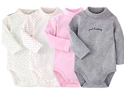(Infant Baby Boys Girls Long Sleeves Onesies Cotton Turtle-Neck Bodysuit Fall Winter Cloths Outfit (4-Pack, 18-24 Months))