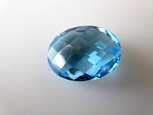 Gemsdiamondsbyshikha Grande 16 mm 10,30 CTW azul suizo topacio suelto facetado cabujón para anillo/colgante, azul topacio piedra natural piedra, ...