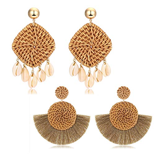 Rattan Shell Earrings Handmade Straw Wicker Braid Woven Drop Earrings Boho Cowrie Shell Chandelier Statement Dangle Stud Earrings Rattan Tassel Earrings for Women Girls (2 Pairs shell+tassel)