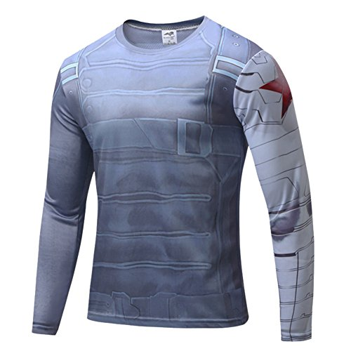 [HOCOOL Mens Winter Soldier Halloween Costume Shirt Quick-Dry Running Tee M] (Winter Running Costume)