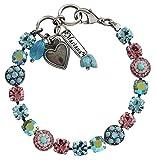Mariana Silvertone Flower Shapes Crystal Bracelet, 7.25'' ''Summer Fun'' Blue Pink AB Multi Color 4044 3711