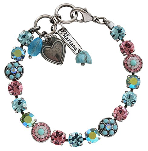 Mariana Silvertone Flower Shapes Crystal Bracelet, 7.25'' ''Summer Fun'' Blue Pink AB Multi Color 4044 3711 by Mariana