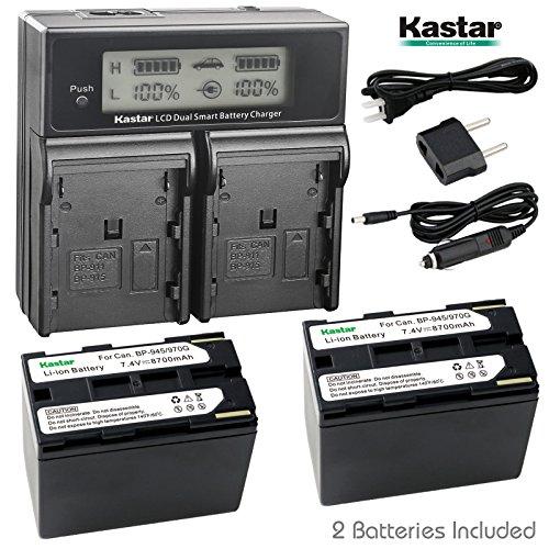 Bp 945 Compatible Battery - Kastar LCD Dual Fast Charger & 2x Battery for Canon BP-945, BP945 and Canon C2 FV1 FV500 Optura Ultura Vistura DM-XL2 DM-MV20 E65AS ES-8600 Hi8 G2000 GL2 MV200i UC-V300 V75Hi XH-G1 XL-H1 XM2 XV2
