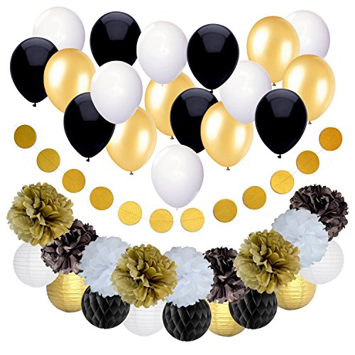 Black and Gold Party Decorations for Birthday or Wedding Anniversary – 37 Pack – Make Him an Unforgettable Going Away Event with Honeycomb Supplies - Great for 25th 30th 40th 50th or 60th Celebration for $<!--$17.99-->