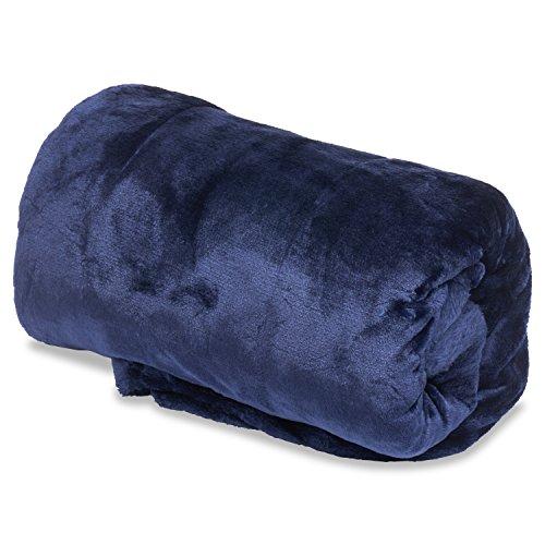 50 Percent Blanket - OVERSIZED 50x 80 Vera Reversible Extra Comfortable Microfiber Blanket - Navy