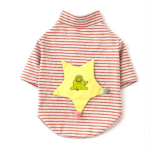 Long Sleeves Stripe Pet Dog Clothes Tee Shirts Walrus cartoon Embroidery Pet Costume (Walrus Dog Costume)