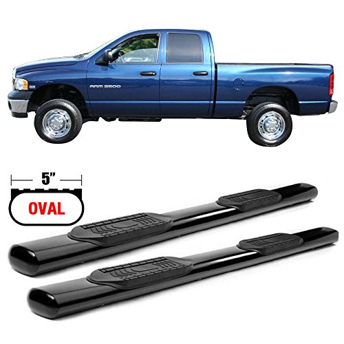 Side Step Bars Fits 2002-2008 Dodge Ram 1500 & 2003-2009 Dodge Ram 2500 3500 Quad Cab | Black Powder Coated T304 Stainless Steel Running Boards Nerf Bars By IKON MOTORSPORTS | 2003 2004 2005 2006 2007