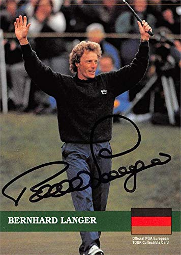 Bernhard Langer autographed trading card (Golf, European Tour, Germany, SC) 1992 Pro Set #E11 Autographed Golf Equipment