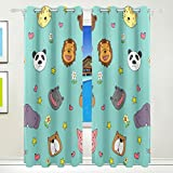 Vantaso Window Curtains 84 Inch Long Cute Animal Head Panda Stars Floral for Kids Girls Boys Bedroom Living Room Polyester 2 Pannels