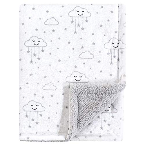 Hudson Baby Mink Blanket with Sherpa Backing, Gray Clouds, One Size
