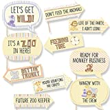 Funny Zoo Crew - Baby Shower or Birthday Party Photo Booth Props Kit - 10 Piece