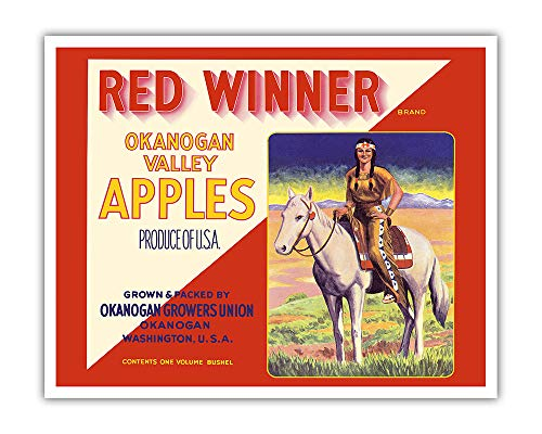 Pacifica Island Art - Okanogan Valley Washington Apples - Red Winner Brand - Vintage Fruit Crate Label c.1940s - Fine Art Print - 16in x 20in