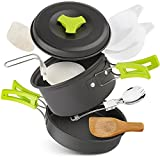 Camping Cookware Kit,Pots & Pans,Spork, Bowls, Foldable Spoon, Wooden Spatula, Aluminum Cookware Equipment, Lightweight & Collapsible for Backpacking Gear & Hiking Outdoors Cooking