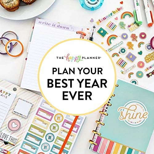 me & my BIG ideas The Happy Planner Box Kit - Sweat Smile Repeat Theme - 12 Month Undated - Vertical Layout - 5 Sheets of Stickers, 1 Pen, 1 Magnetic Bookmark, 4 Sticky Note Pads - Classic Size 7