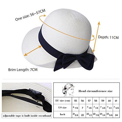SiggiHat Womens Sun Summer Straw Beach Hat Floppy Fashion Stylish Travel Panama Fedora Hats Foldable UV White by SiggiHat (Image #3)