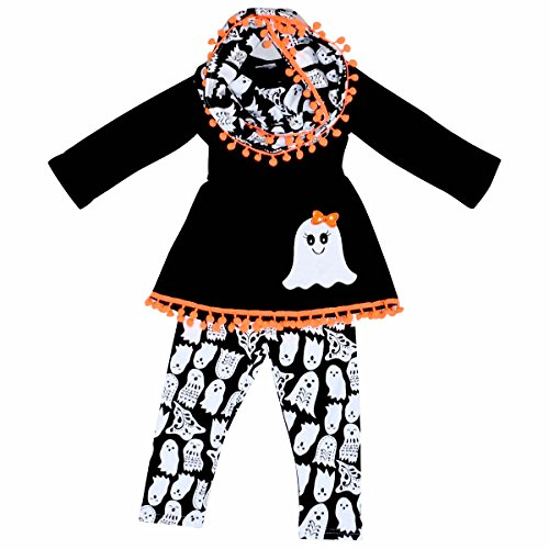 Unique Baby Girls 3 Piece Ghost Halloween Outfit with Infinity Scarf (2T/XS, (Boutique Girls Outfits)