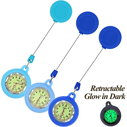 GetLucky Paramedic Luminous Nurse Fob Watch for Nurses Doctors, Nite Glow in Dark with Whole Dial & Pointer,Retractable Clip on Design (Blue 3 Packs)