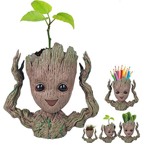 Week Amazon 2018-Creative Groot Planter Pot Guardians of The Galaxy Flowerpot Baby Groot Action Figures Cute Model Toy Pen Pot Pencil Holder Best Gifts For Kids (Hands Up Groot) ()