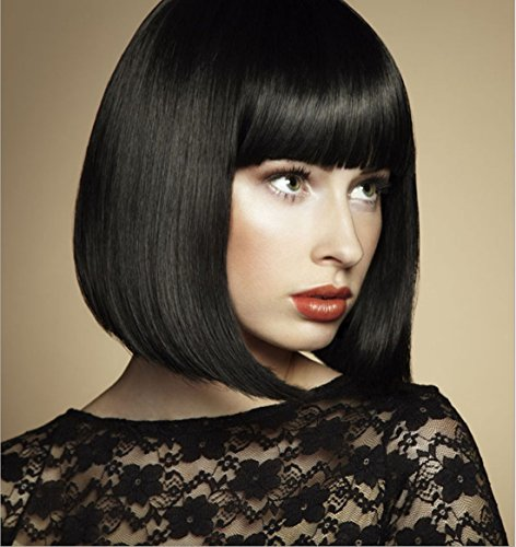 [MOCOO Short Black Wigs for Ladies Straight hair wigs With Bangs Heat Resistant Synthetic Wig Natural Looking for Cosplay/Party] (Black Bob Wig With Bangs)