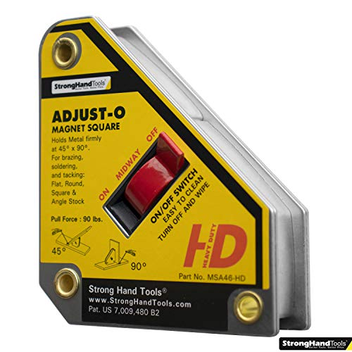 Strong Hand Tools, Heavy Duty, Adjust-O Magnet Square, On/Off Switches, Pull Force: 65 lbs, 4-3/8″ x 3-3/4″ x 1-1/8″, MSA46-HD