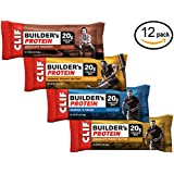 CLIF BUILDER'S Protein Bar - Crunchy Peanut Butter, Chocolate Peanut Butter, Chocolate Hazelnut, Cookies and Cream (Variety Pack, 12 Count)