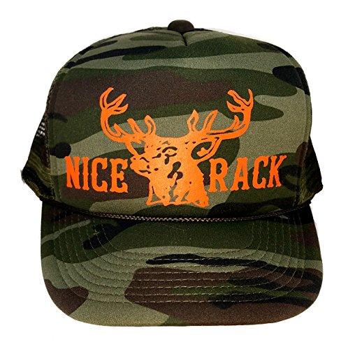 Green Camouflage Nice Rack Blaze Orange Mesh Trucker Hat Cap Snapback