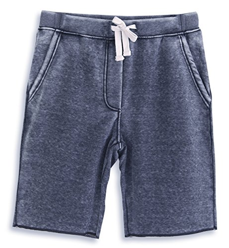 HARBETH Men's Casual Soft Cotton Elastic Fleece Jogger Gym Active Pocket Shorts Burnout Navy L (Joggers Shorts)