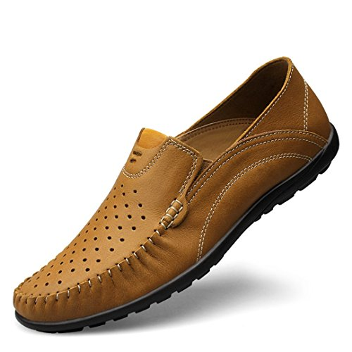 Driving Mens Khaki Loafers Breathable Dress Leather Fashion TDA Business Shoes Perforated Boat FdwqFHY
