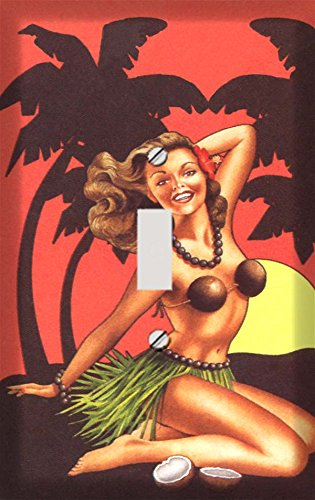Retro Hawaiian Pin Up Girl Switchplate - Switch Plate Cover