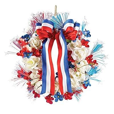 Fiber Optic Patriotic Americana Wreath, Nylon