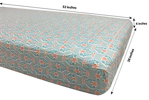 Bacati - Sophia Paisley Girls Crib Baby Bedding Set (Coral/Aqua, 4 pc Crib Bedding Set)