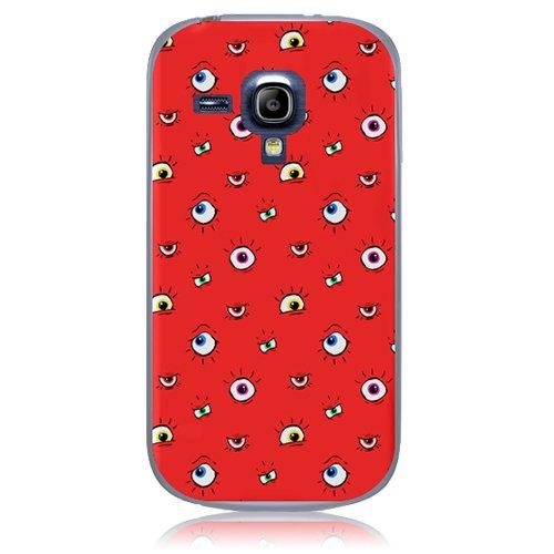 Xtra-Funky Serie Samsung Galaxy S3 Mini de dibujos animados loco ojos saltones cubierta de la caja de plástico duro - Mudito Ojos en Rojo