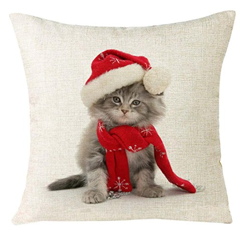 Pillowcase, Bestpriceam Xmas Christmas Cat Animal Cotton Linen Square Decorative Throw Pillow Case Cushion Cover (A) (2 Pack Decorative Pillows)