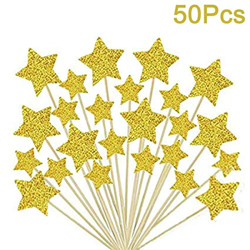 Cupcake Toppers,Sundell Gold Glitter Stars Cake Toppers Twinkle Twinkle Little Star Birthday Cupcake Toppers Baby Shower Wedding Party Cake Decorations,50Pcs ()