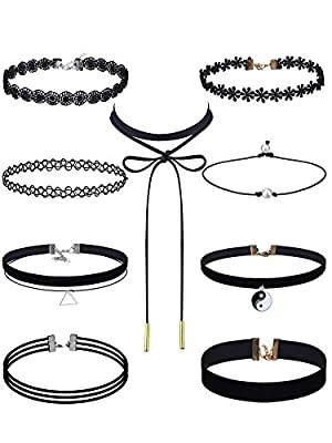eBoot Black Choker Necklaces Set Velvet Tattoo Lace Choker Set for Women and Girls, 9 Pieces by eBoot