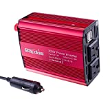 Bapdas 300W AC 110V Outlets Car Power Inverter 4.2A 2 USB Charger Ports DC 12V to AC110V Car Power Adapter Charger for Camera Tablet Loptop Phones and more-Red