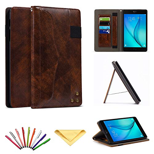Uliking Case for Samsung Galaxy Tab A 8.0 Tablet 2017 (SM-T380/SM-T385),Business Smart Stand Folio PU Leather Hard Wallet Cover with Hand Strap Document Pencil Card Pocket [Auto Sleep/Wake], Coffee]()