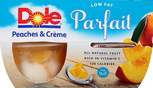 Dole Fruit Bowls, Peaches & Creme Parfait, 4.43 Ounce, 4 Count (Pack of (Dole Peaches)