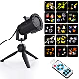 BIENNA Projector Lights, 15 Patterns LED Waterproof Spotlight Motion Projection Lighting w/Remote Control for Outdoor Bedroom Indoor Patio House Christmas Xmas Holiday Thanksgiving Party Windows