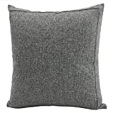 Jepeak Burlap Linen Throw Pillow Cover Cushion Case, Farmhouse Modern Decorative Solid Square Pillow Case, Thickened Luxury for Sofa Couch Bed (24 x 24 Inches, Dark Grey)