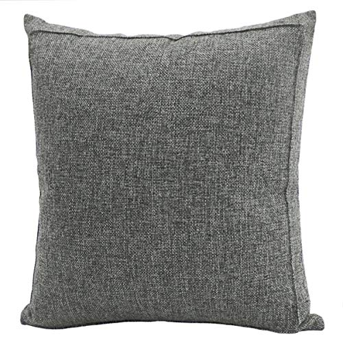 (Jepeak Burlap Linen Throw Pillow Cover Cushion Case, Farmhouse Modern Decorative Solid Square Pillow Case, Thickened Luxury for Sofa Couch Bed (18 x 18 Inches, Dark Grey with Green)