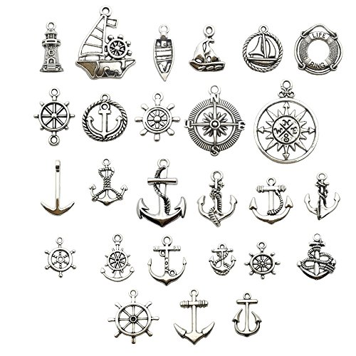 Nautical Charm Collection-50 Pcs Craft Supplies Nautical Ship Wheel Anchor lig Charms Pendants for Crafting, Jewelry Findings Making Accessory For DIY Necklace Bracelet (Antique Silver Nautical ()