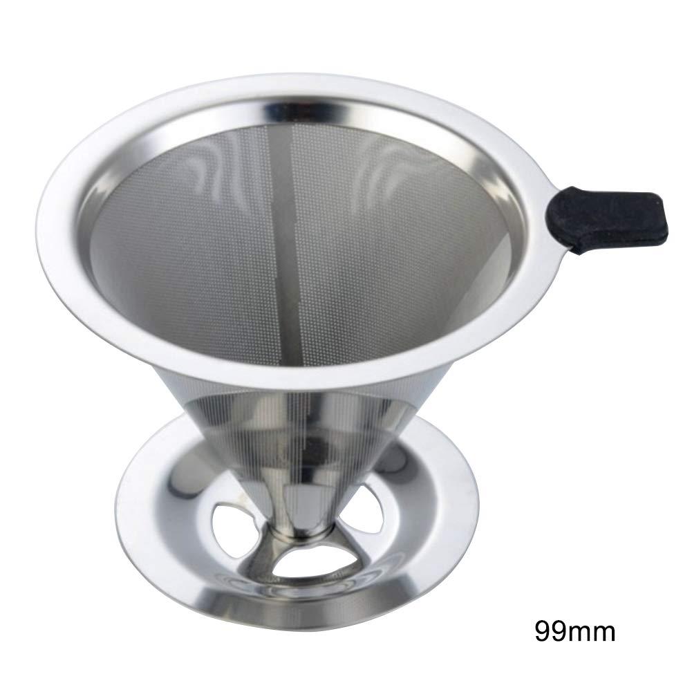 YHCWJZP 再利用可能なステンレススチールメッシュドリップコーヒーフィルターコーンカップブリューワーツール ベース付き 125mm 99mm  99mm B07PHP6914