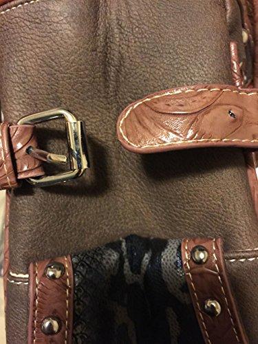 Rhinestone and in Shoulder Cross Leather Beige Purse Brown Handbag Red wnvw6RH